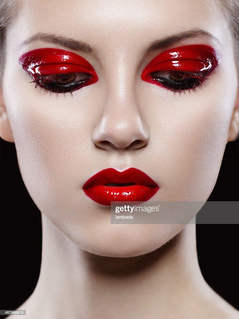 Beautiful Woman With Creative Makeup Stock Photo