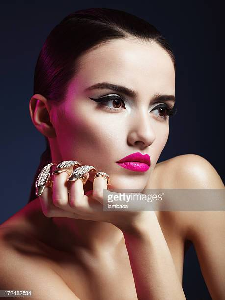 beautiful woman with decorative claws - skin diamond stock pictures, royalty-free photos & images