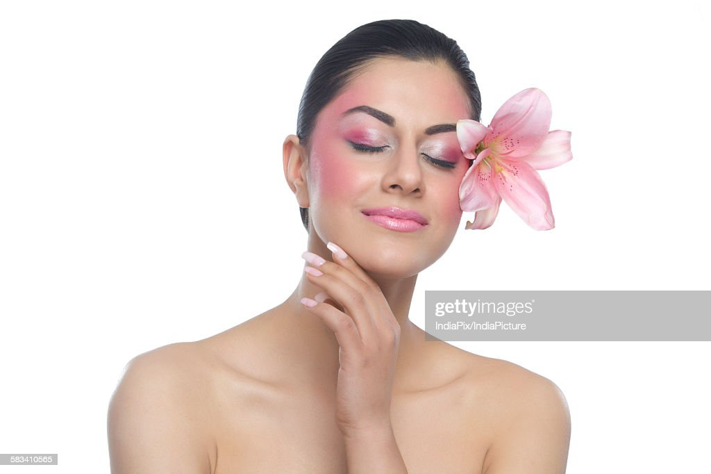 Beautiful woman with eyes closed : Stock Photo