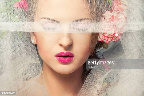 beautiful woman with flowers in hair - wedding veil stock photos and pictures