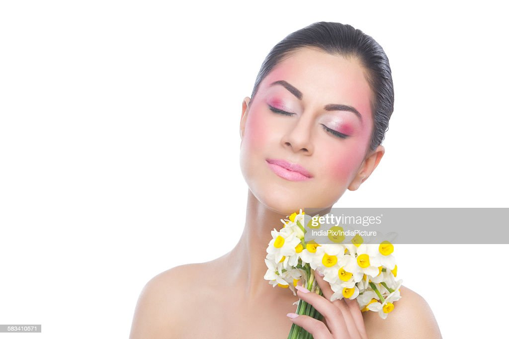 Beautiful woman with flowers : Stock Photo