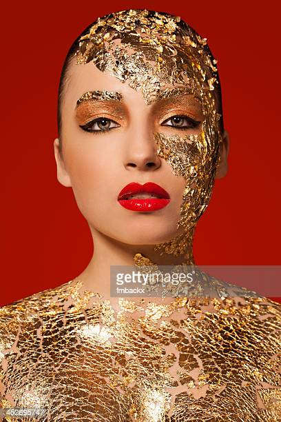 Beautiful Woman with Gold Leaf Beauty Portrait