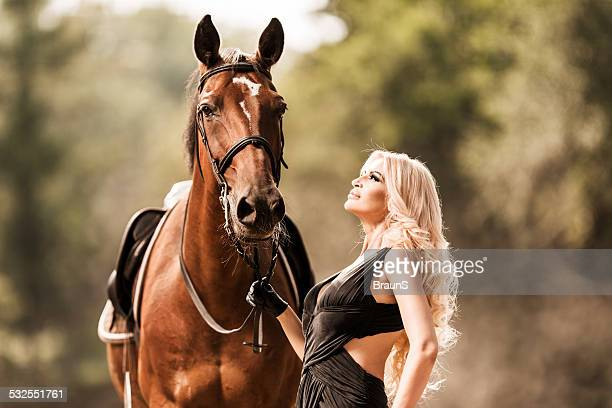 Beautiful woman with horse.