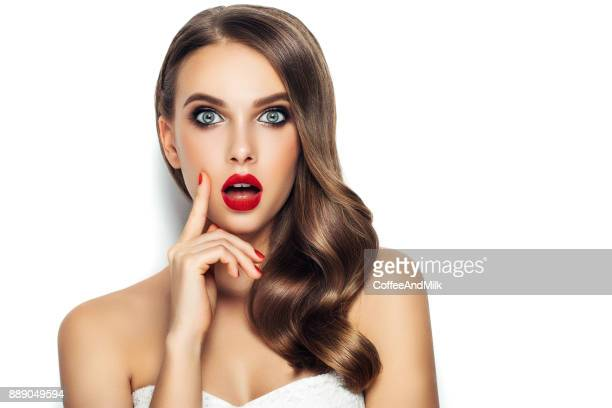 beautiful woman with long hair - model stock photos and pictures