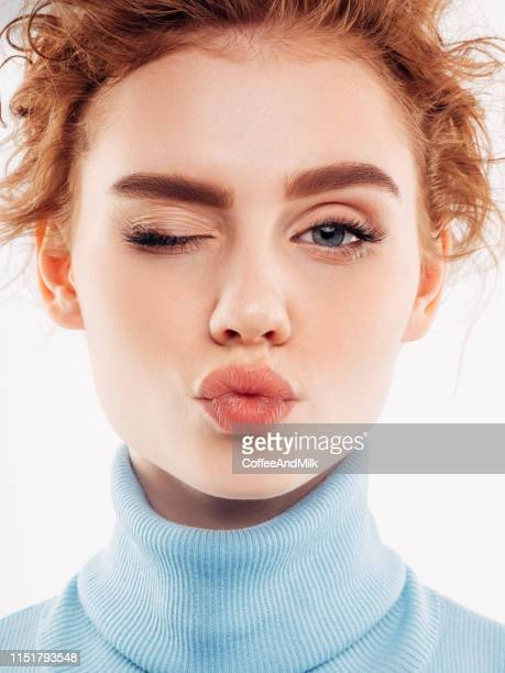 beautiful woman with luxury hairs - human lips stock pictures, royalty-free photos & images