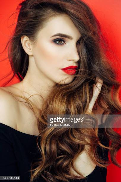 beautiful woman with luxury hairs - red lipstick stock photos and pictures