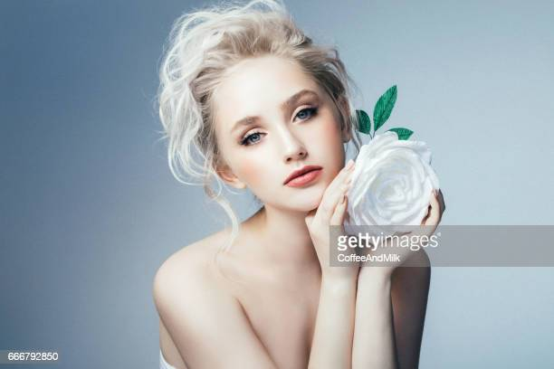 beautiful woman with make-up and stylish hairstyle - big eyes stock photos and pictures