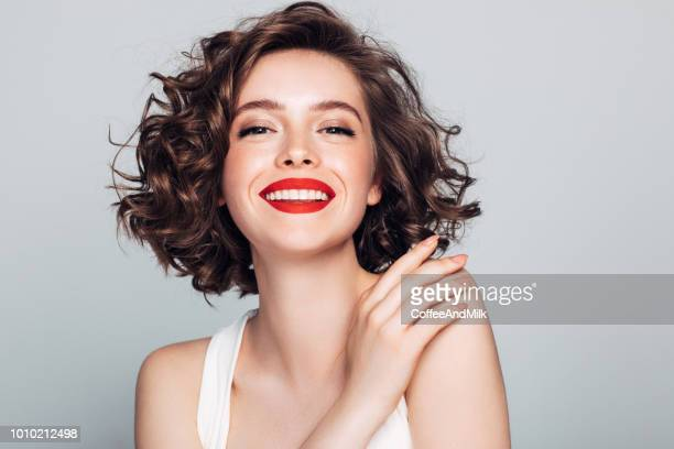 beautiful woman with make-up - red lipstick stock pictures, royalty-free photos & images
