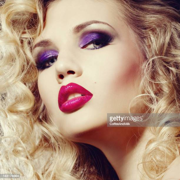 beautiful woman with makeup - pink lipstick stock photos and pictures