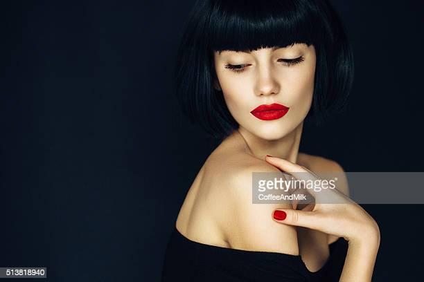 美しい女性、メイクアップ
