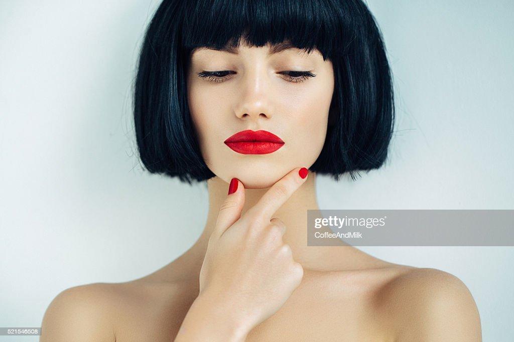 Schöne Frau mit make-up : Stock-Foto