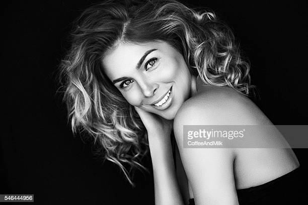 beautiful woman with make-up - black and white stock pictures, royalty-free photos & images
