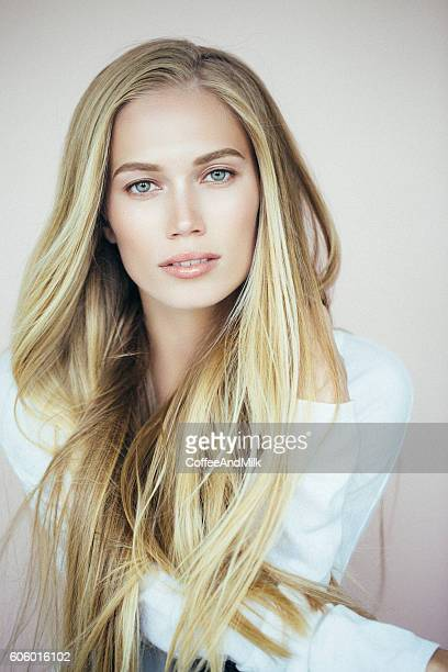 beautiful woman with make-up - blonde hair stock pictures, royalty-free photos & images