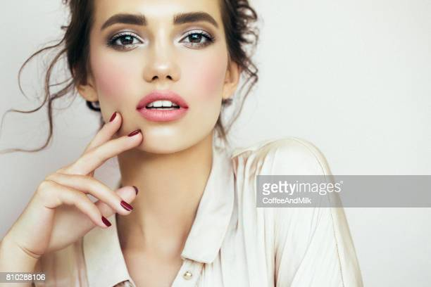 beautiful woman with make-up - beautiful women stock pictures, royalty-free photos & images