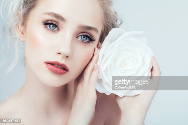 beautiful woman with make-up - big eyes stock photos and pictures