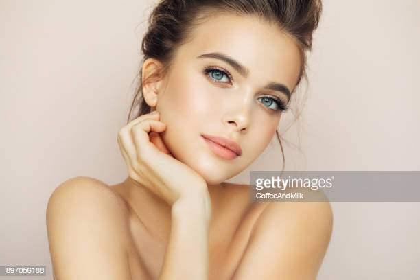 beautiful woman with natural make-up - stage make up stock photos and pictures