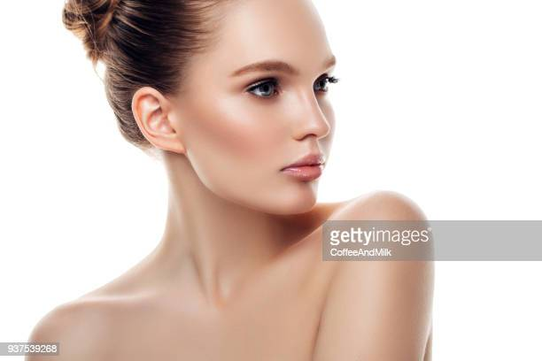 beautiful woman with natural make-up - female body painting stock pictures, royalty-free photos & images