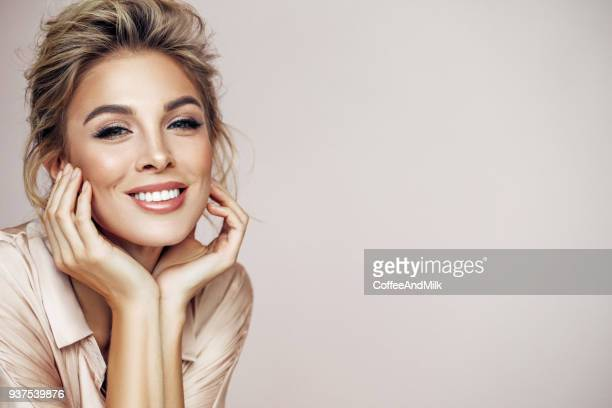 beautiful woman with natural make-up - beautiful smile stock photos and pictures