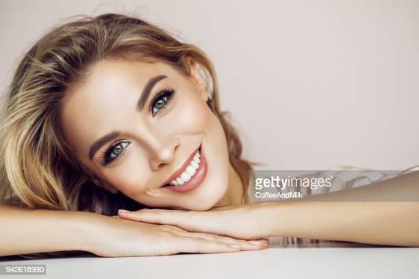 beautiful woman with natural make-up - perfection stock pictures, royalty-free photos & images
