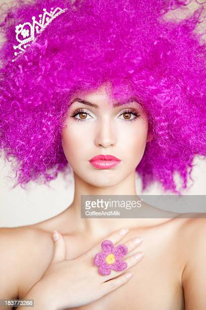 Beautiful woman with pink hairs