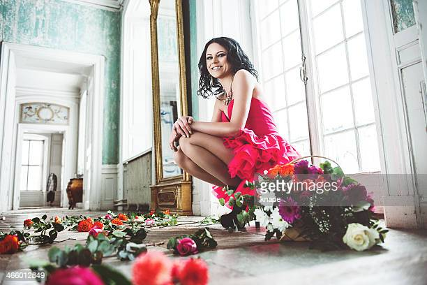 Beautiful woman with roses