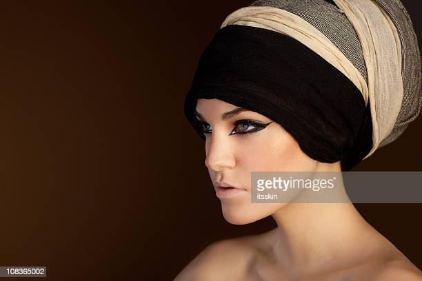 beautiful woman with scarf on her head - cleopatra stock pictures, royalty-free photos & images