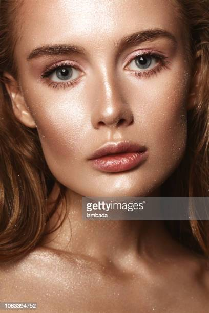 beautiful woman with shiny make-up - eye make up stock photos and pictures