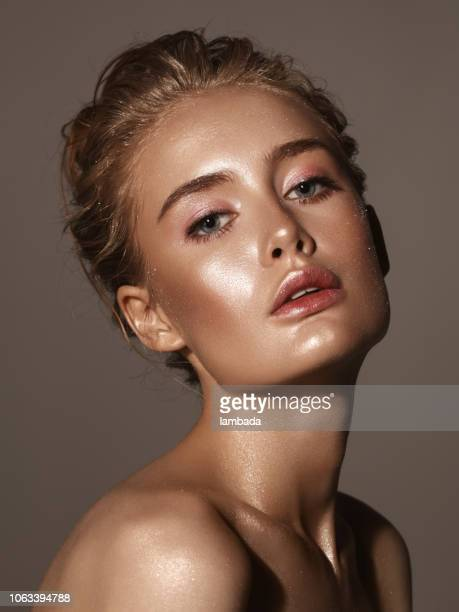 beautiful woman with shiny make-up - stage make up stock photos and pictures