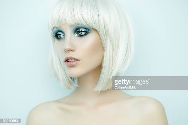 beautiful woman with stylish hairstyle - eye make up stock pictures, royalty-free photos & images