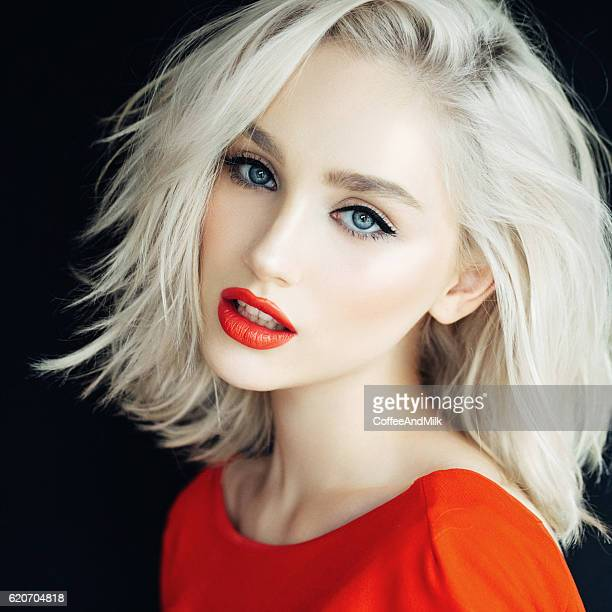 beautiful woman with stylish hairstyle - blonde hair stock pictures, royalty-free photos & images