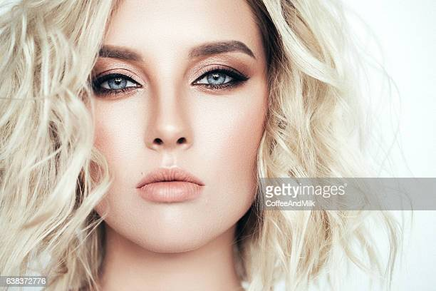 beautiful woman with stylish hairstyle - eye make up stock photos and pictures