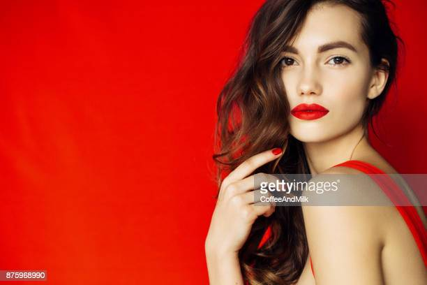 beautiful woman with stylish hairstyle - red lipstick stock pictures, royalty-free photos & images