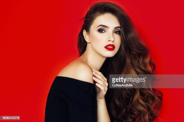 beautiful woman with stylish hairstyle - red lipstick stock photos and pictures