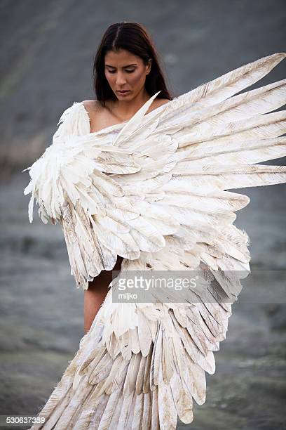 Beautiful woman with the wings