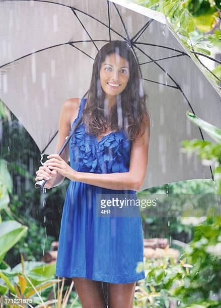 Beautiful Woman with Umbrella in the warm Summer Rain (XXXL)