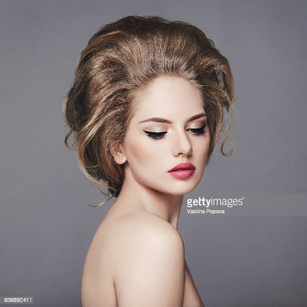 Beautiful woman with volume hairstyle