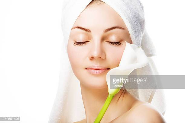 beautiful woman with white flower - calla lilies white stock pictures, royalty-free photos & images