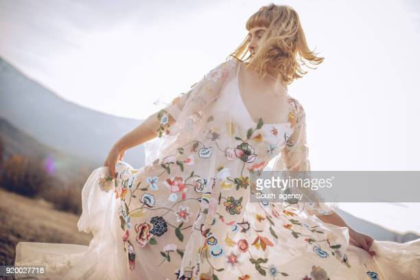 beautiful womanin dress - hippie woman stock photos and pictures