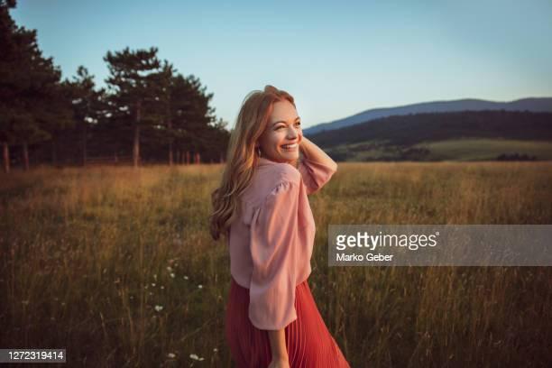 beautiful women in a forest - beauty in nature stock-fotos und bilder