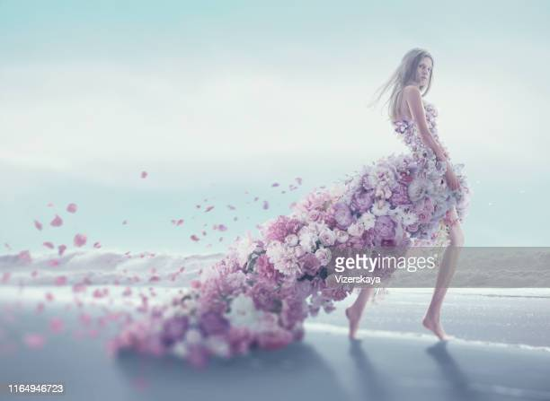 beautiful women in flower dress - perfume stock pictures, royalty-free photos & images