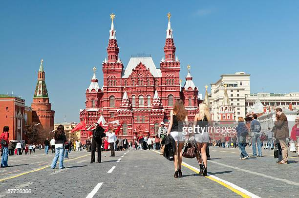 beautiful women in red square moscow - red square stock pictures, royalty-free photos & images