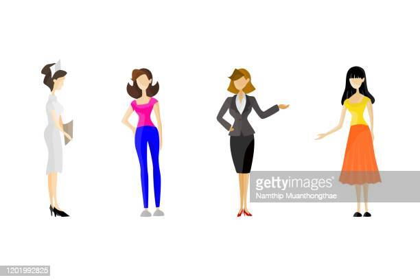 beautiful women vector illustration in various careers style on the white background shows the various uniforms. - people icons stock pictures, royalty-free photos & images