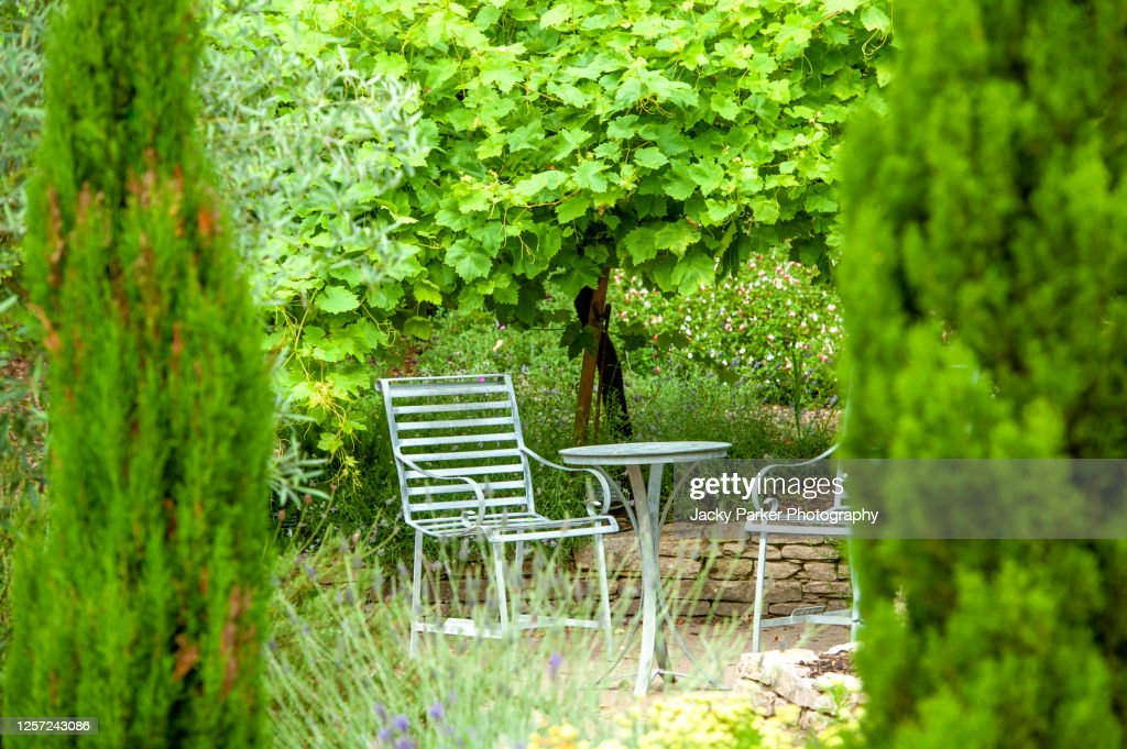 Beautiful wrought iron, garden table and chairs in a garden hideaway with tall evergreen trees : Stock Photo