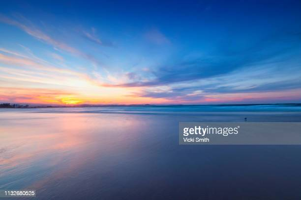 beautiful yellow and blue sky sunrise over the ocean - 薄明かり ストックフォトと画像