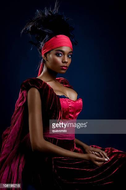 African American Young Woman Posing as Beautiful Queen