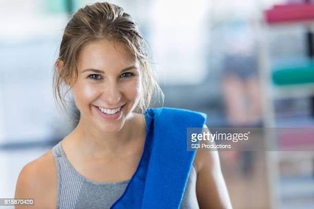 beautiful young athletic woman after workout - circuit training stock photos and pictures