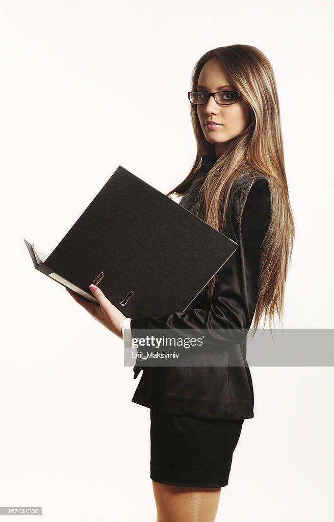 Hermosa joven mujer de negocios : Foto de stock