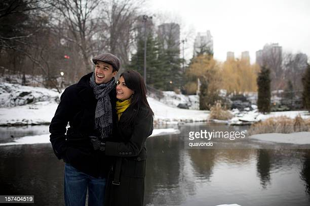 Beautiful Young Couple Walking in Snowy Central Park, Copy Space