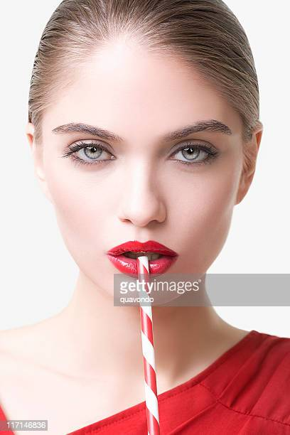 Beautiful, Sexy Young Woman Fashion Model, Red Lipstick, Drinking Straw