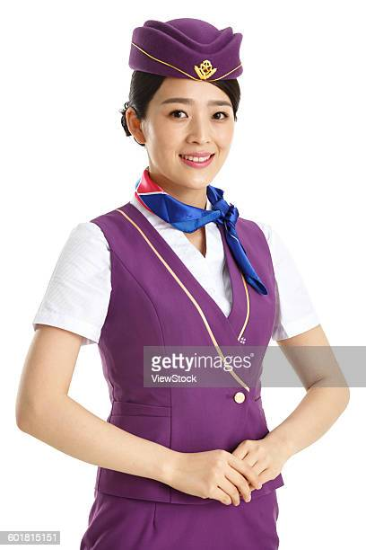 Beautiful young female cabin crew